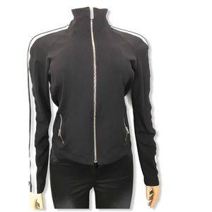 bebe sport active jacket black white striped
